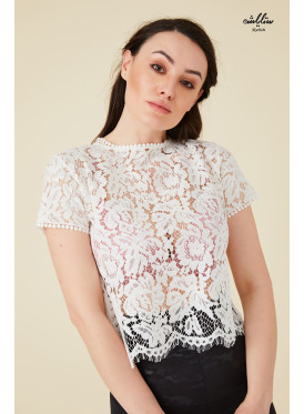 Elegant lace openwork blouse in white