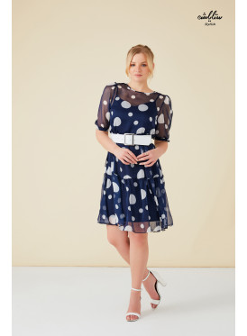 polka dot dark blue short 2psc dress