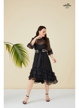 Polka-dot  ruffle layered hem dress with belt