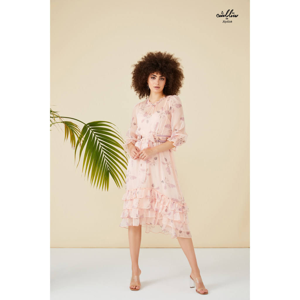 Floral printed pink ruffle layered hem dress with belt