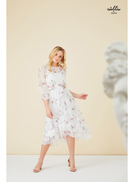 Floral printed ruffle layered hem dress with belt