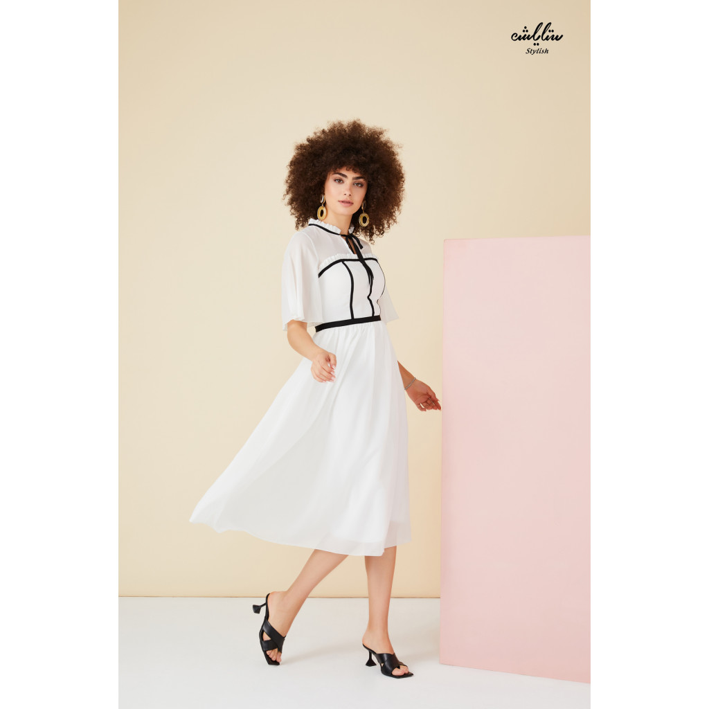 Tie neck, butterfly sleeves white dress