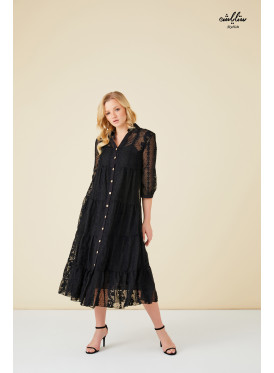 2pcs black  buttoned up dress of a decorated Fabric With floral patterns