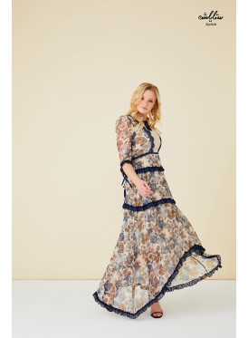 Full floral Ruffle Trim Flounce Sleeve  Dress