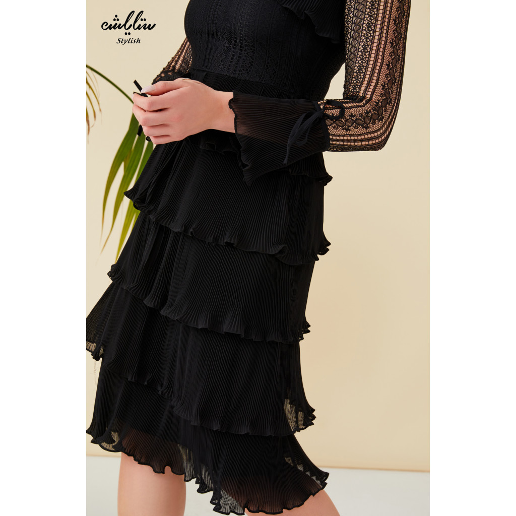 Tie neck, lace sleeves layered black Dress