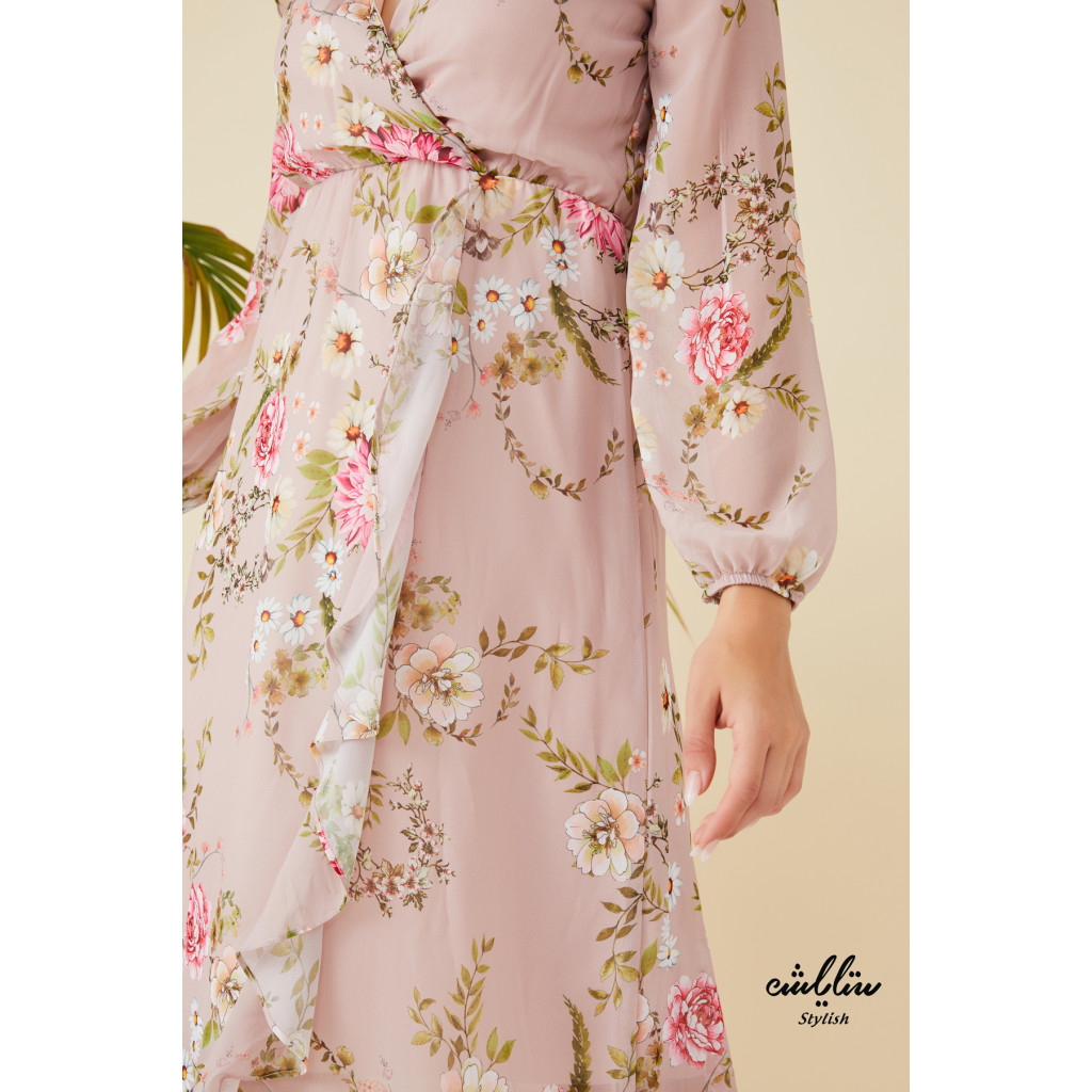 Frill high neck floral printed wrap dress