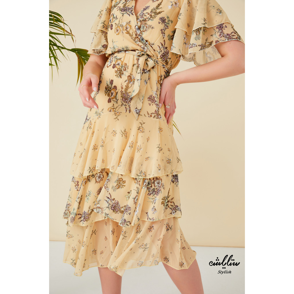 V neck belted frill layered dress with butterfly sleeves