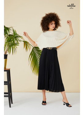 Two piece set black pleated skirt and white top
