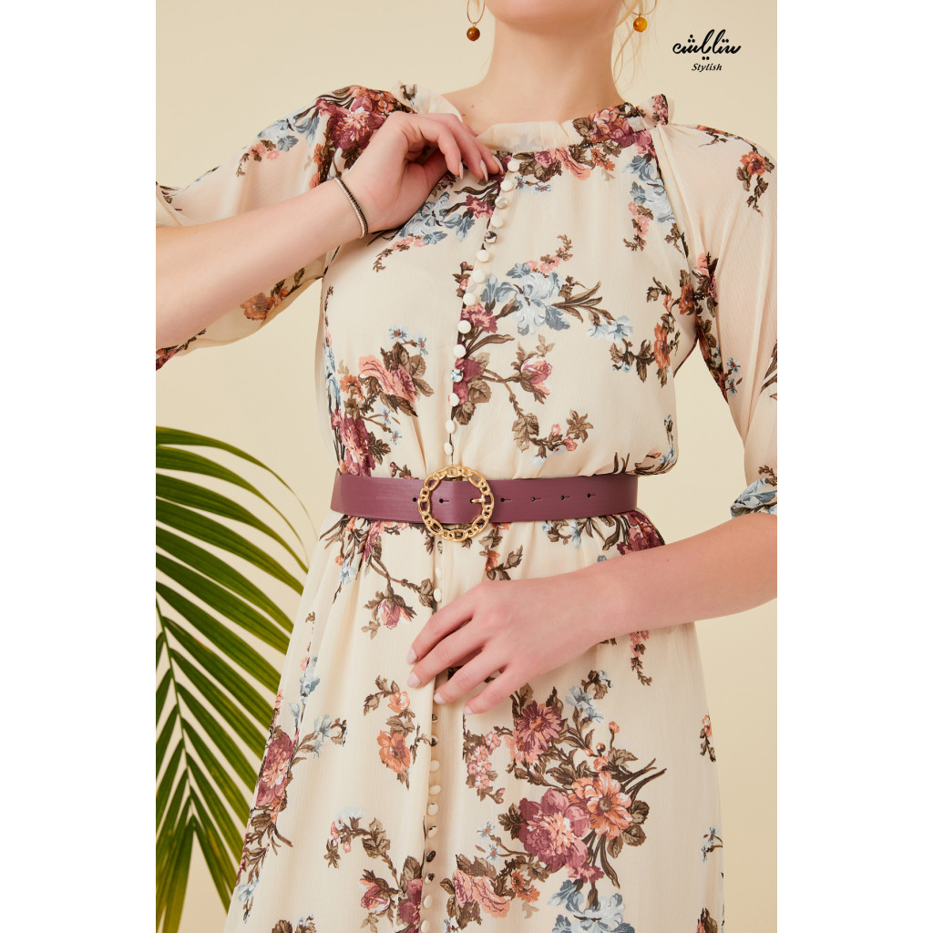 Floral printed beige dress with Decorative buttons