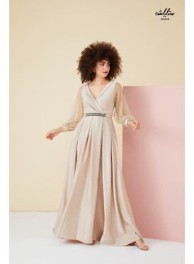 Wrap V Neck, Maxi Beige Dress with tulle long sleeves