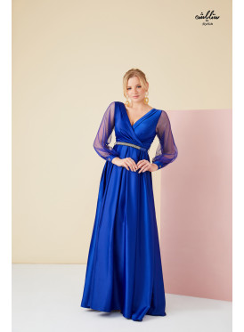 V  Neck Maxi  belted  blue Dress with tulle long sleeves