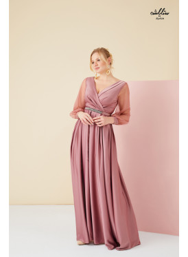 Plunge, Wrap Neck Maxi belted Dress with tulle long sleeves