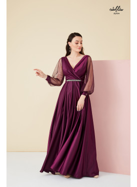 Plunge Neck Maxi  belted Dress with tulle long sleeves
