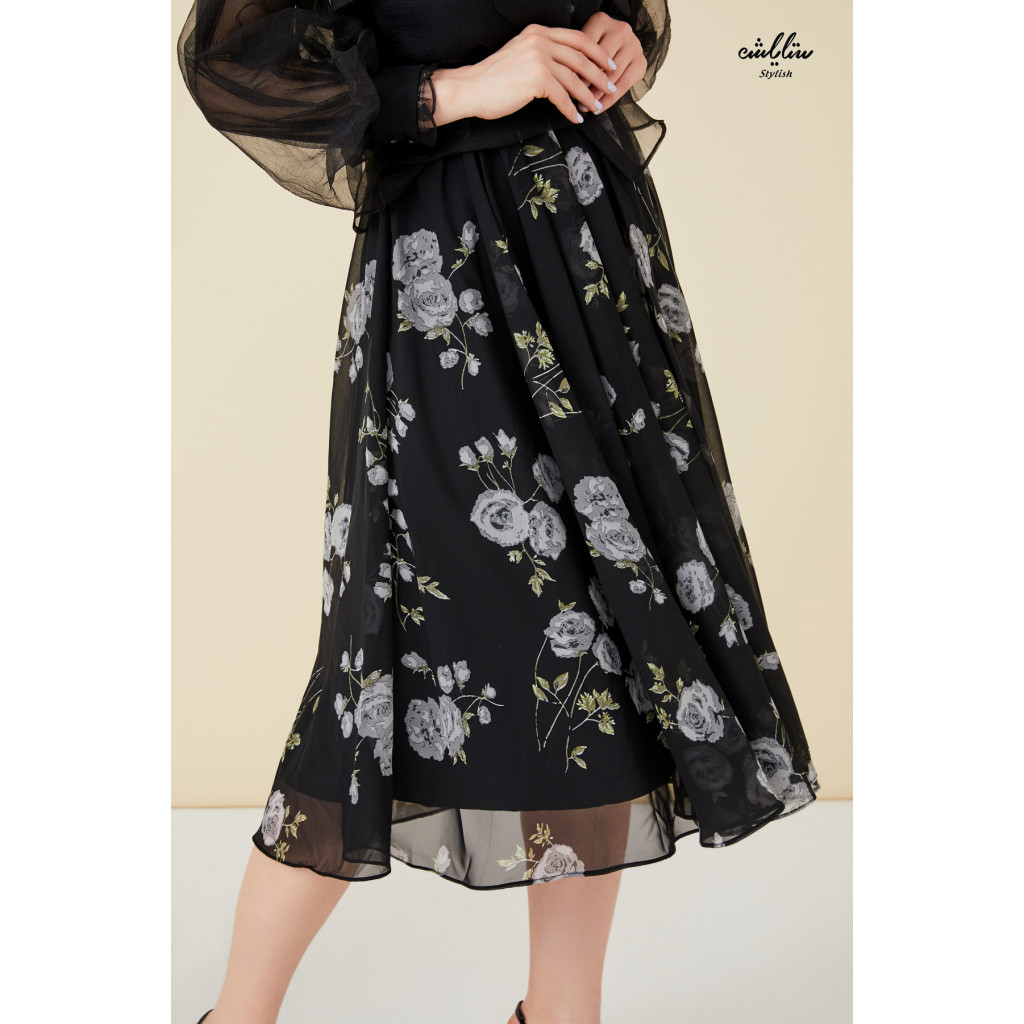2pcs Floral printed belted dress with  tie neck organza blazer