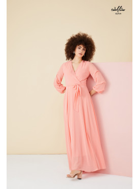 V neck belted dress with special sleeves