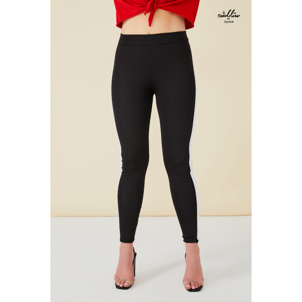 Black Elastic leggings with white sides