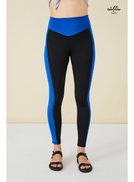 Wide Waistband blue Sides Leggings