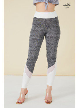 White Wide Waistband & Mesh insert Gray Leggings