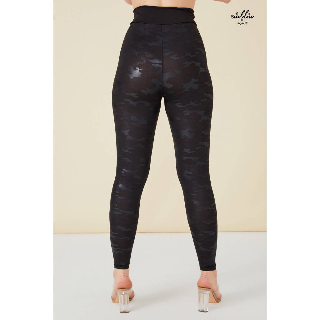 Camo Pu leather  Shining  Black Leggings.