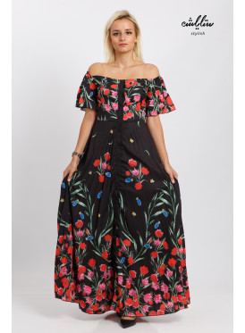 Madone neck floral buttoned up dress