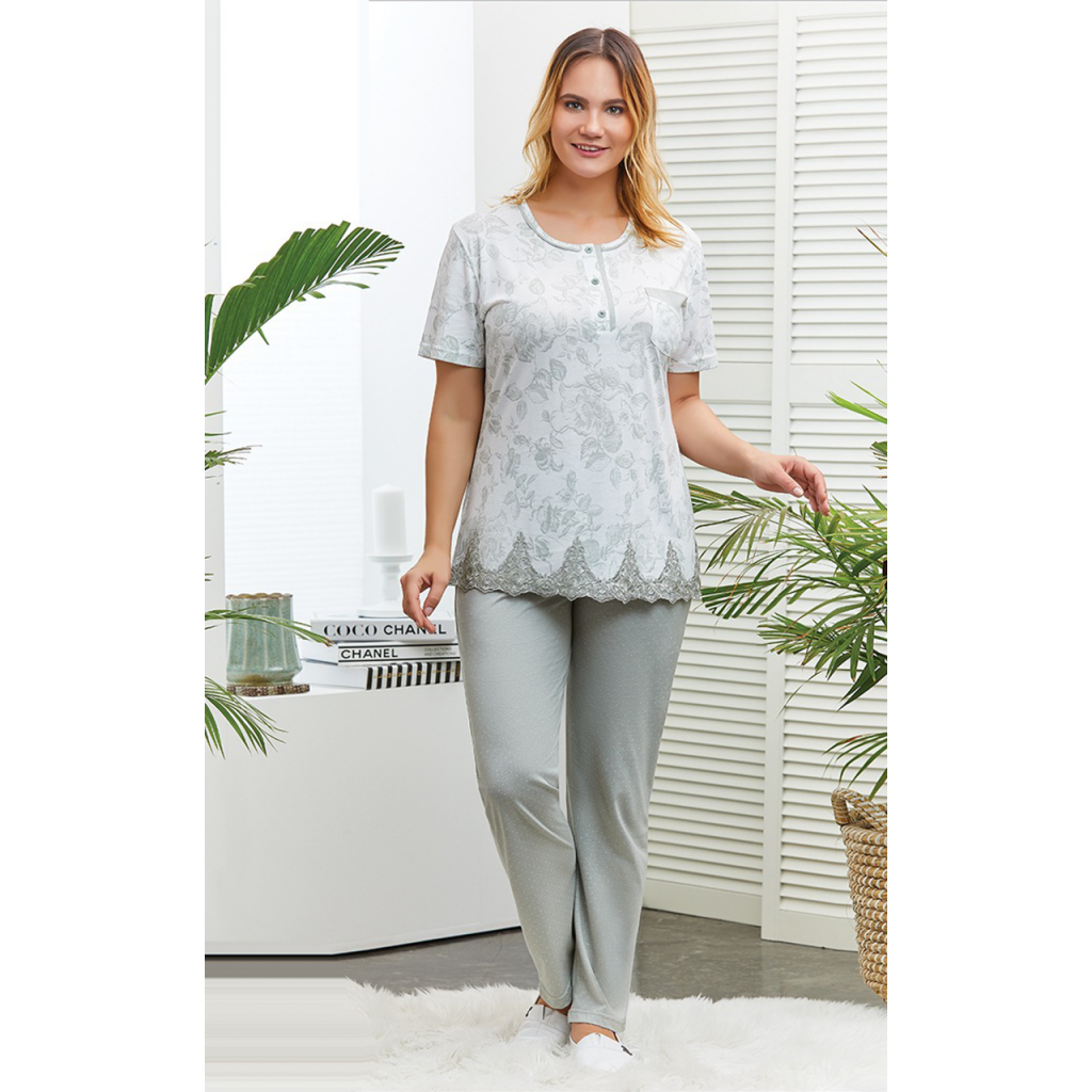Soft gray pajamas decorated with lace