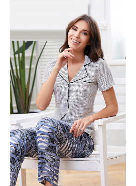 polka dot button up pajama with patterned pants