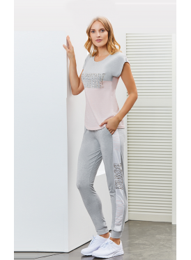 Soft pajama in gray and baby pink