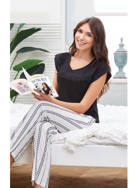 Soft black and white pajama decorated with lace