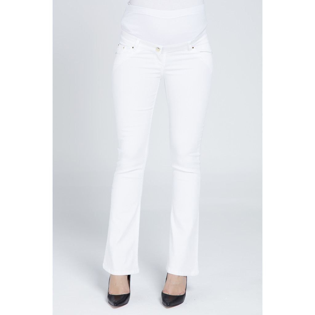 White maternity pants with flared bottom