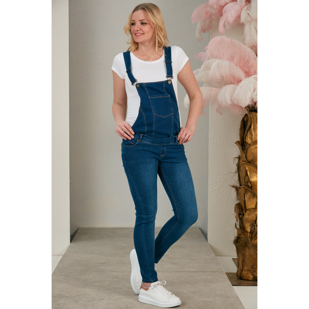 Maternity jeans jumpsuit with buttons that can be worn as trousers