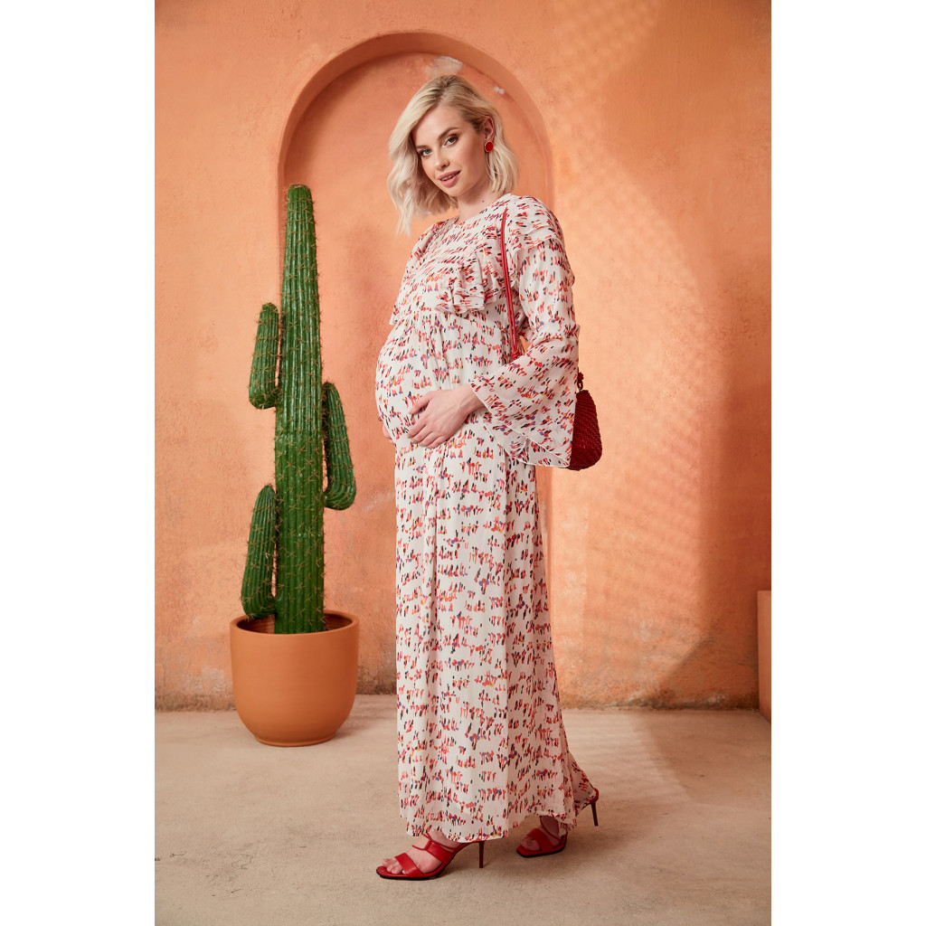 Soft printed maxi dress for pregnant women