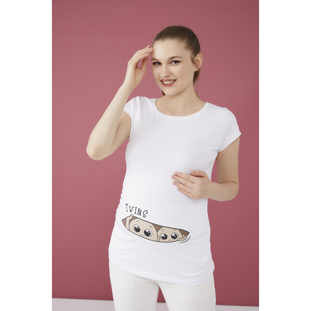 White maternity T-shirt with cute Twins print