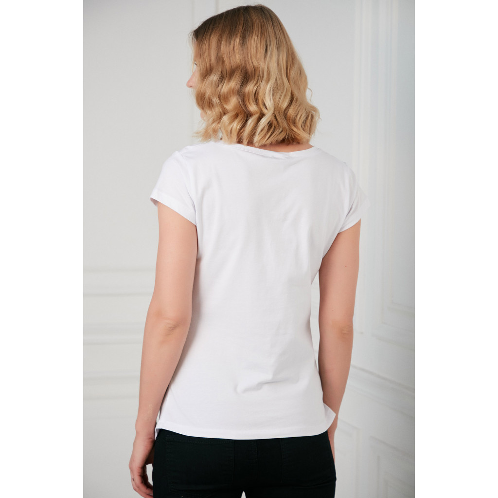 White maternity T-shirt with cute print