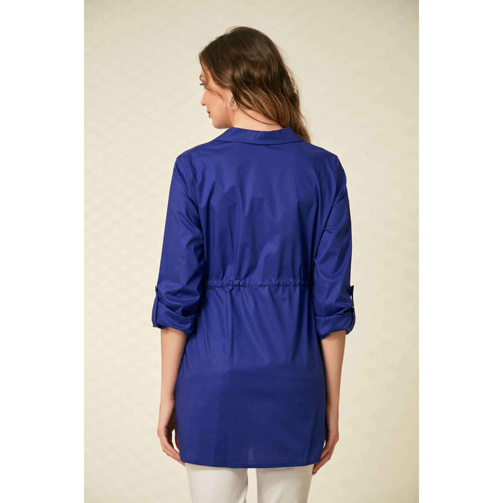 A navy blouse with a long sleeve, formal collar and a tie on the waist