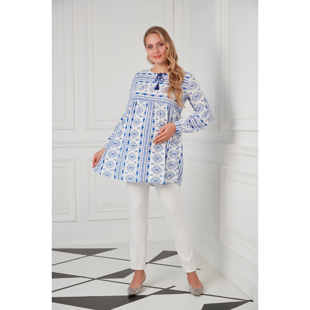 Elegant white and blue maternity blouse with tie on the neck