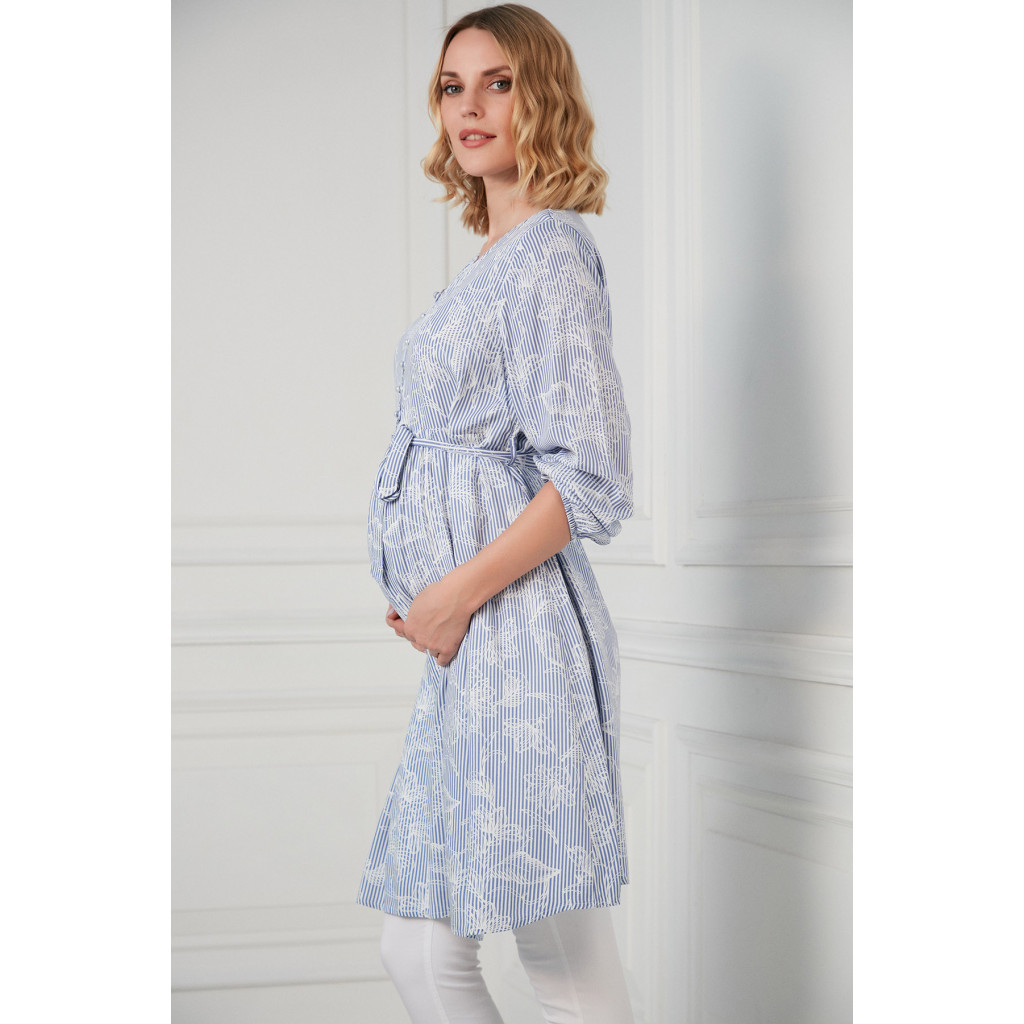 Short pregnant dress in white and blue