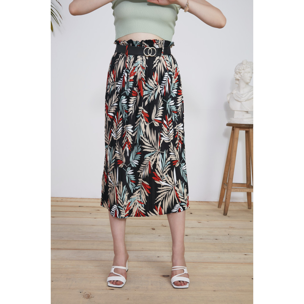 leaves prints Belted close Pleated Skirt