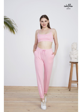 Pink tracksuit with short top and long pants