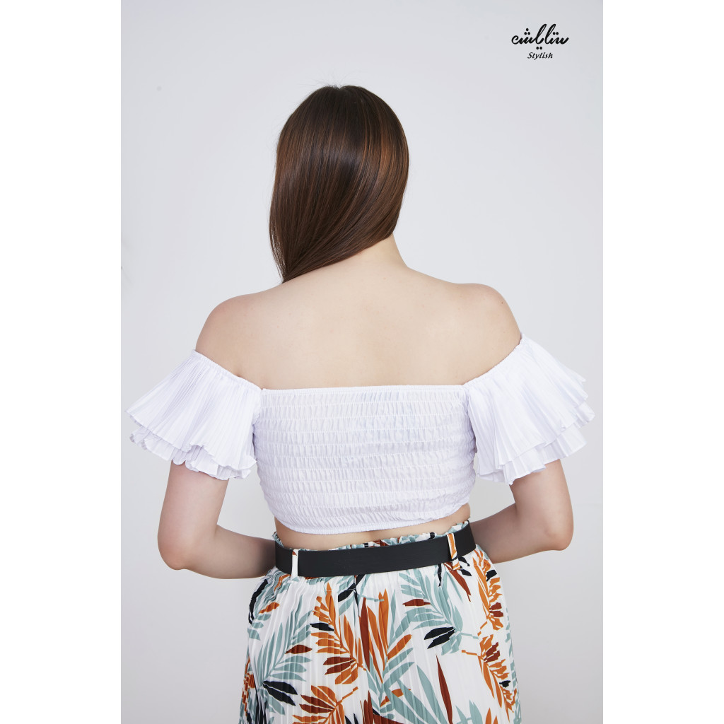 Short blouse with drawstring and butterfly sleeves