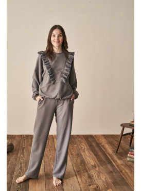 Winter pajamas made of gray woven fabric with lace