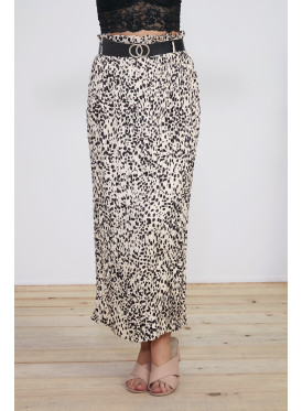 Leopard prints , Belted  Pleated skirt