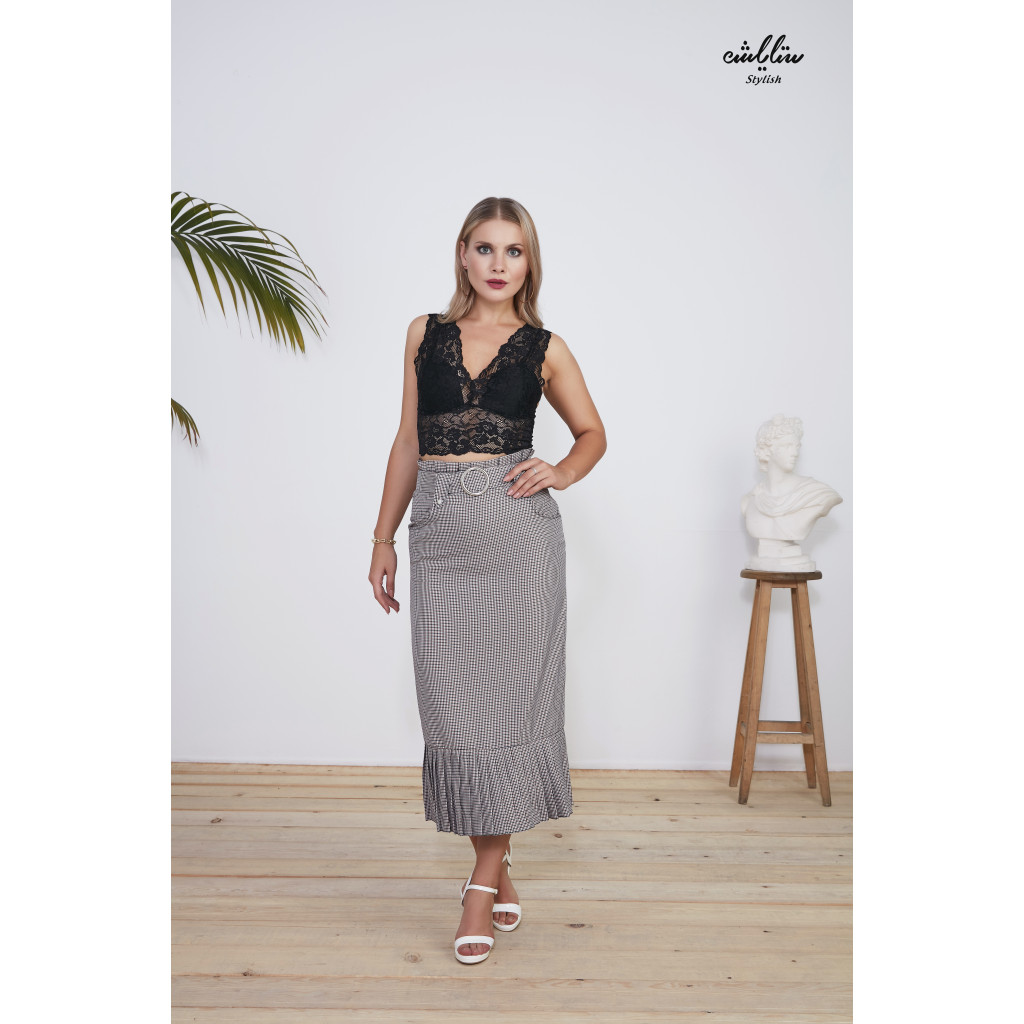 Paperbag Waist Belted Pencil Skirt with pleated hem