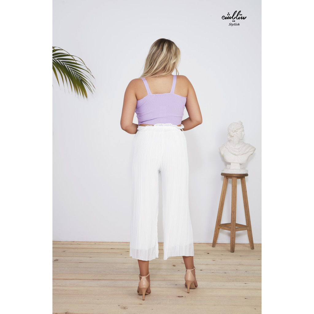 High Waist wide  pleated trousers