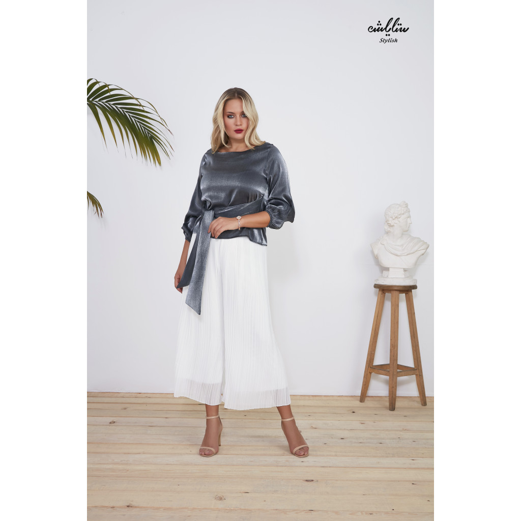 Metallic self belted blouse with long sleeves