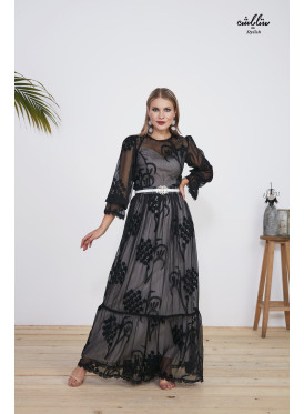 2pcs maxi dress  of Chiffon fabric decorated with black thread embroidery