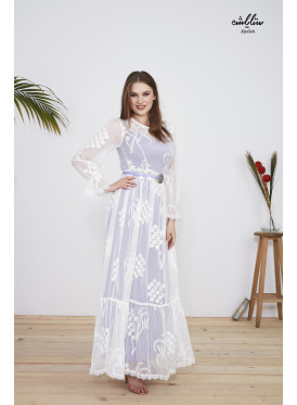 2pcs maxi dress  of Chiffon fabric decorated with white thread embroidery