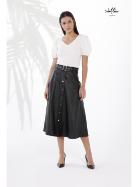 A soft black leather midi skirt with front buttons for a modern twist