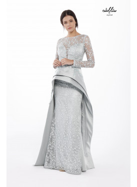 Mermaid Hem Sequin Prom (embroidered lace) Dress with an additional  Innovative design piece of fine satin to  increases the charm and luxury .