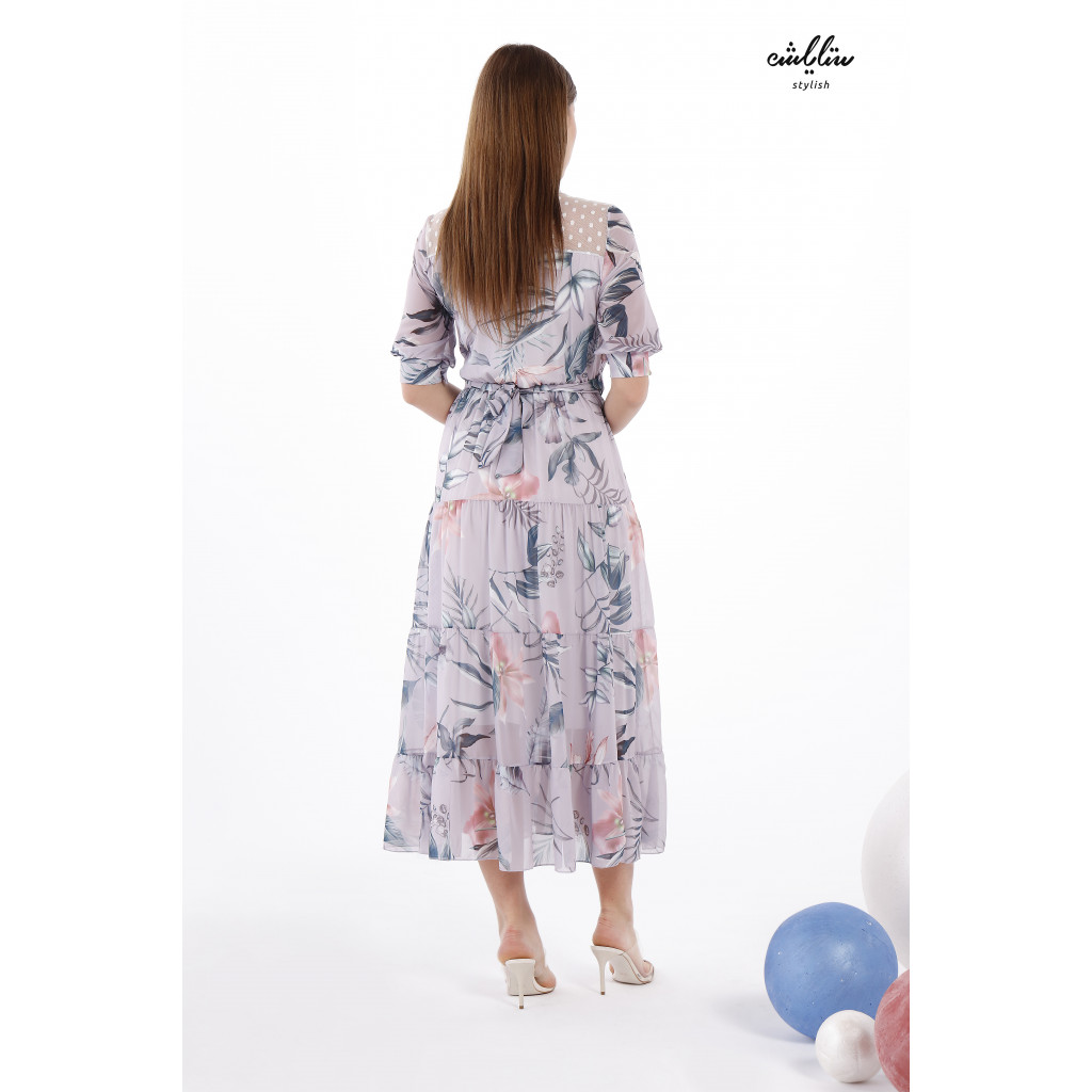 Soft Tropical Print Gray Chiffon Maxi Dress Decorated With Lace and  Pearls For a Comfortable and  Distinct Harmony