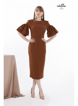 Ruffle Short Sleeves Bodycon Brown Dress With A Special Design For Special Look